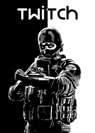 Twitch R6 Siege operator B&W design by r6siegecenter